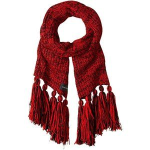 Calvin Klein Chunky Knit Marled Scarf Red